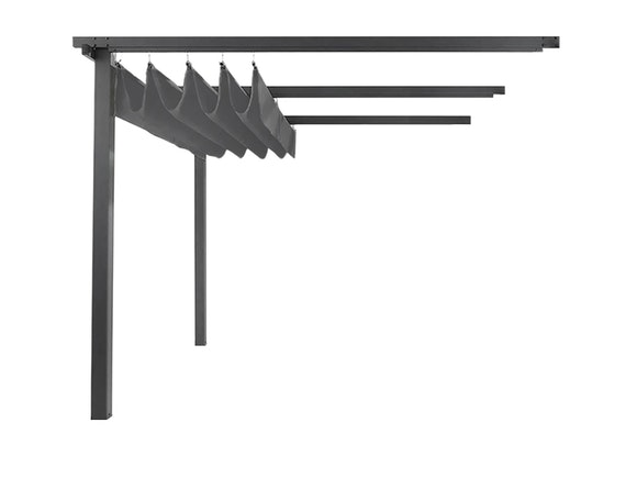 Wall Mounted Pergola with Retractable Canopy 3m x 4m