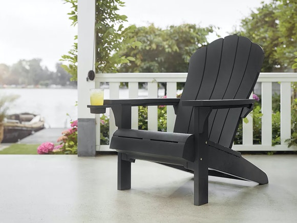 Keter Cape Cod Adirondack Chair with Cupholder Graphite