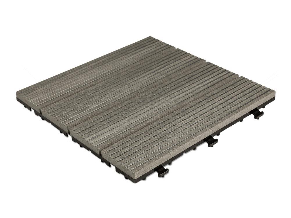 Outdoor Premium Composite Deck Tiles Grey - Pack of 10