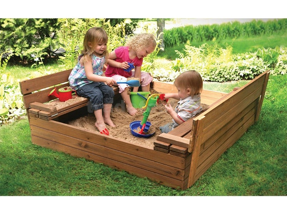 Wooden Sandpit with Seats - Small 1m x 1m