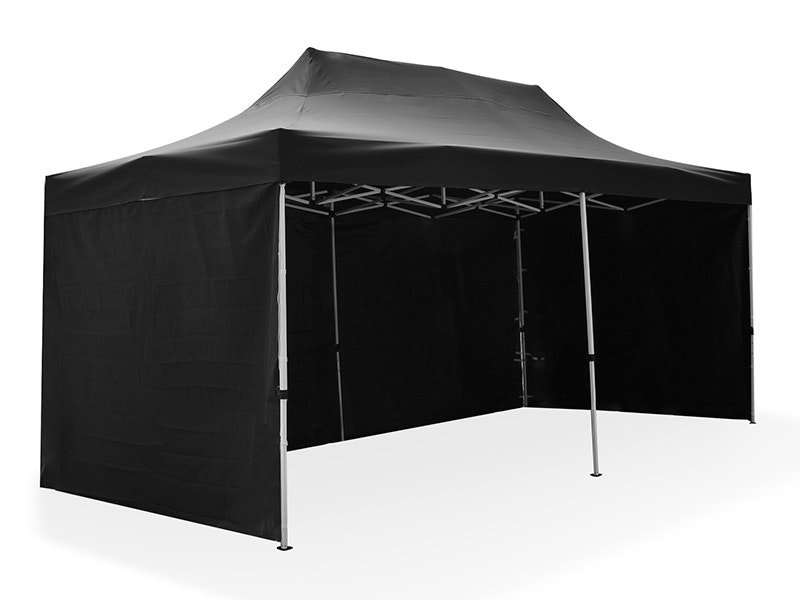 Great White Pop Up Gazebo Enclosed 3m x 6m Black