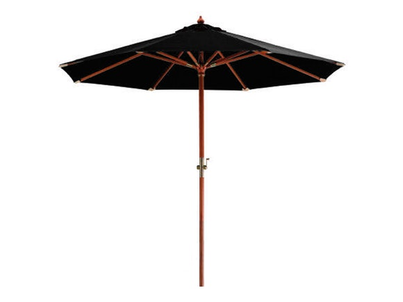 Hardwood Outdoor Umbrella 3m Black