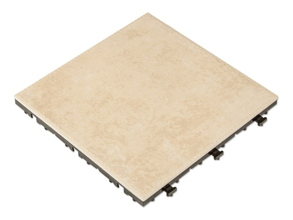 Outdoor Ceramic Deck Tiles Taupe - Pack of 10