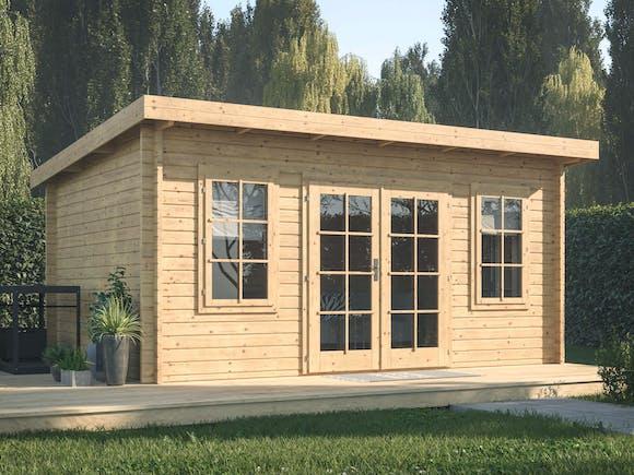 FR44-4735-Log Cabin Garden House Lisa 4.5m x 3.3m