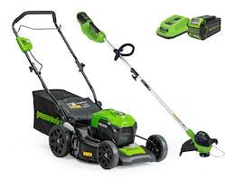 Greenworks Lawnmower 460mm + Line Trimmer 40V 4.0Ah Kit