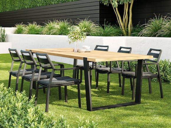 Pier Teak Outdoor Dining Set - 6 Seater