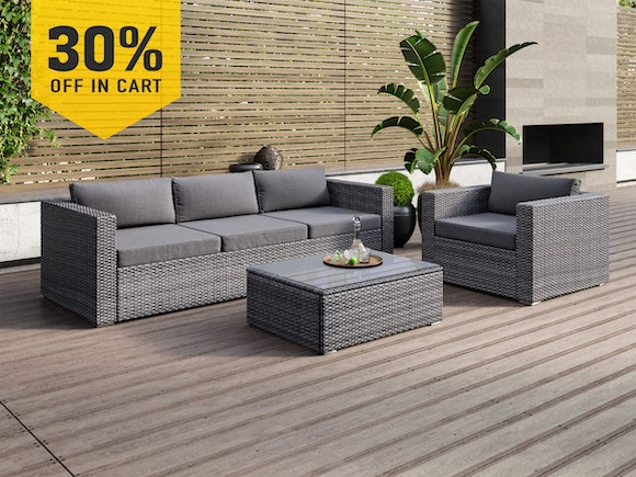 Sandpiper Rattan Lounge Suite 3-Piece Dark