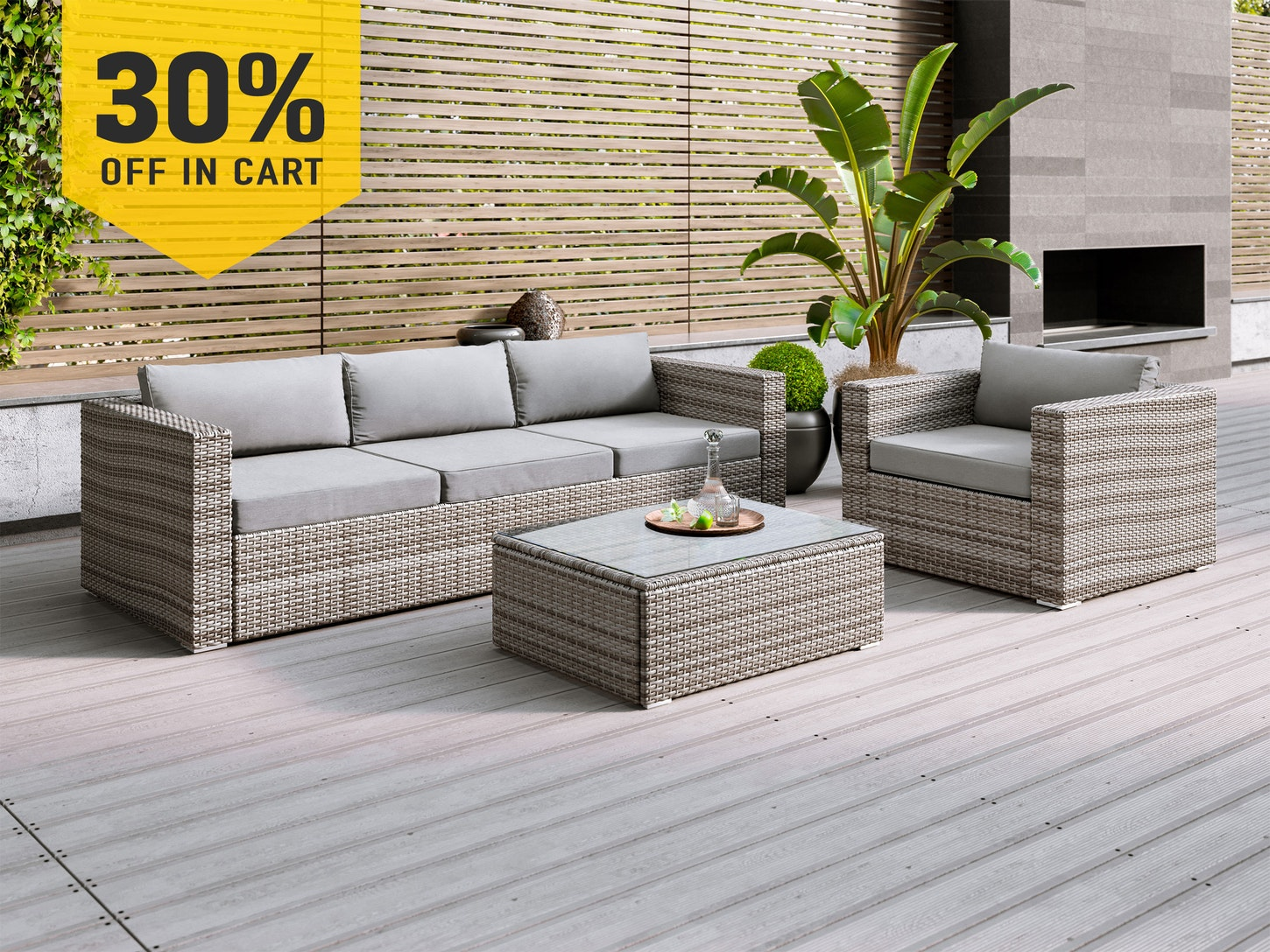 Sandpiper rattan lounge suite 3 piece light lounge sets outdoor furniture home outdoor living trade tested