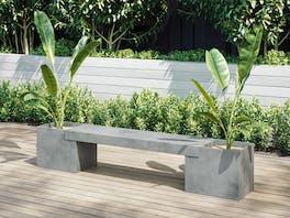 Slab Concrete Planter & Bench