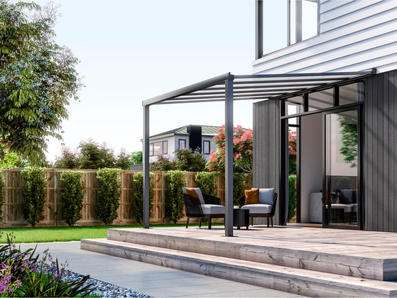 Wall Mounted Patio Cover 3m x 3m Ironsand