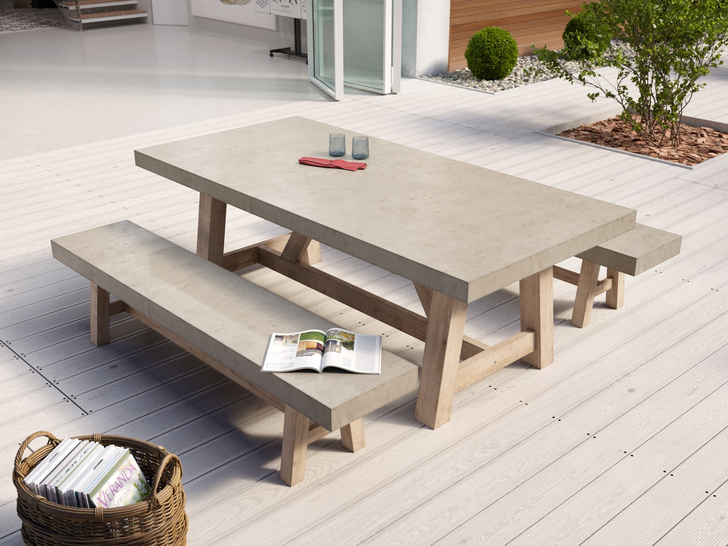 Tate concrete outdoor dining set dining sets outdoor furniture home outdoor living trade tested