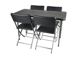 Trestle Dining Set Rattan Look 4 - Seater