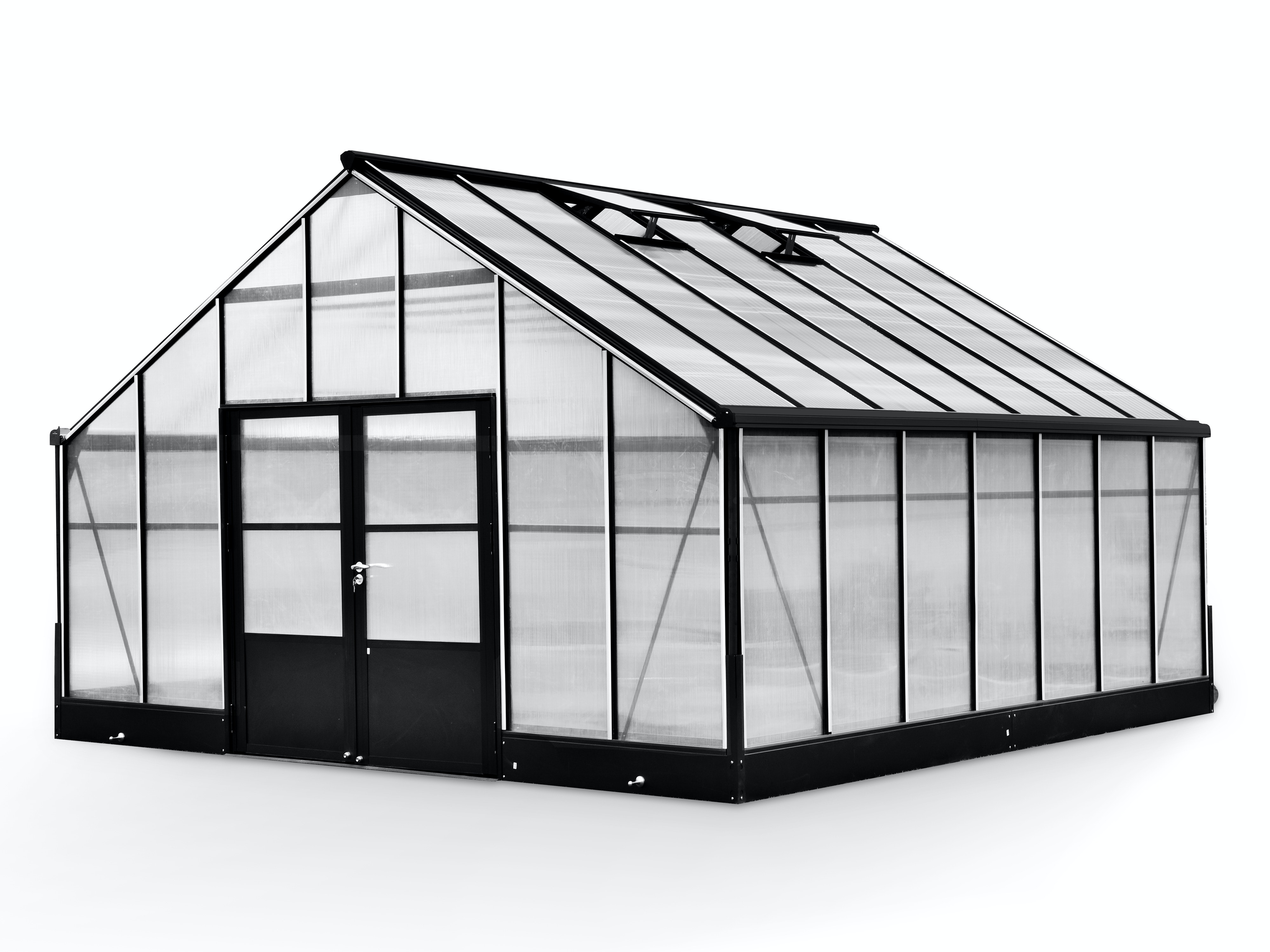 Evergreen Pro Greenhouse 17 X 17ft Black 17 X 17ft Greenhouses Gardening Trade Tested