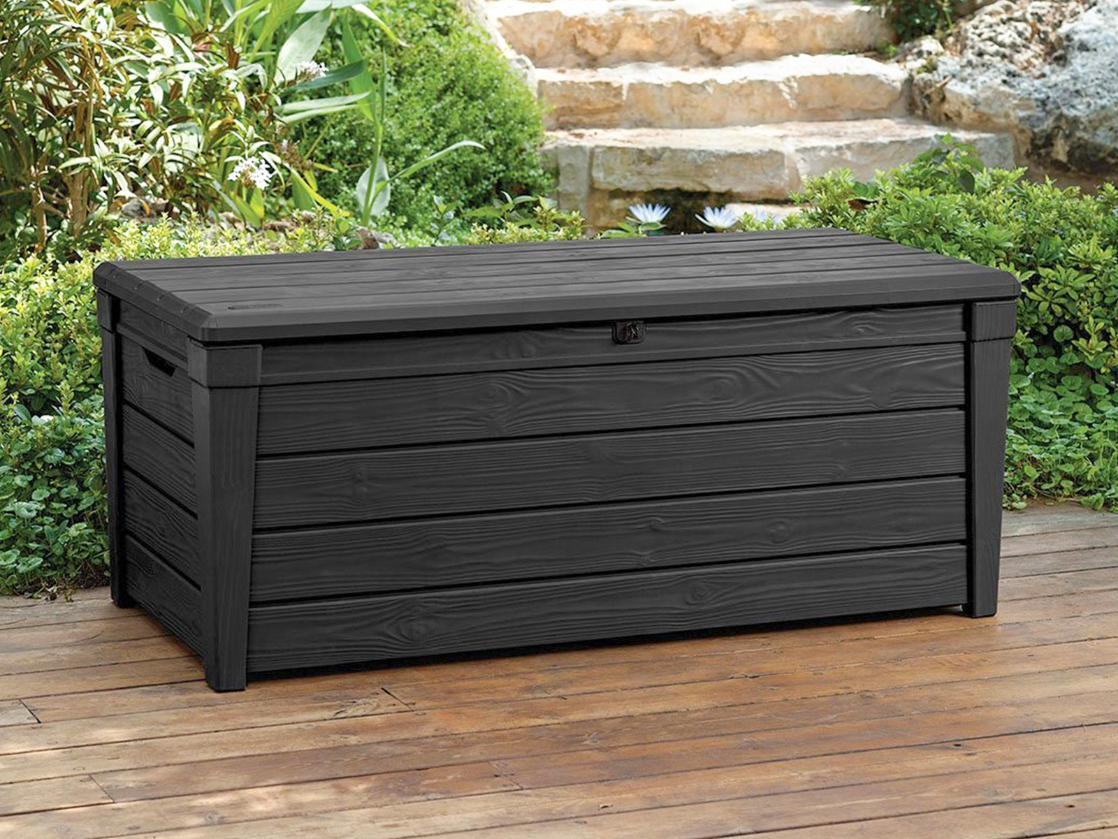 Image of: Keter Brightwood Outdoor Storage Box 454l Storage Boxes Outdoor Furniture Home Outdoor Living Trade Tested