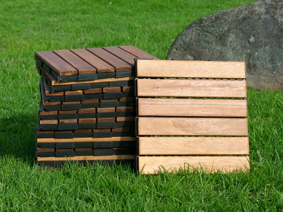 Outdoor Wooden Deck Tiles 6 Slat - Pack of 12