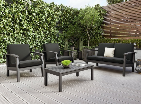 Flaxmere Hardwood Outdoor Sofa Set 4 Piece Grey