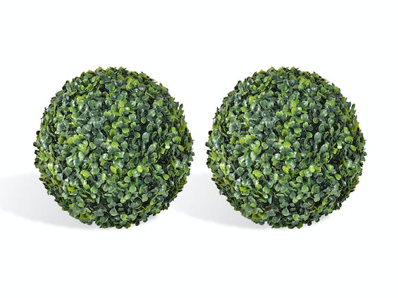 Artificial Topiary Hedge Ball English Box - Pair