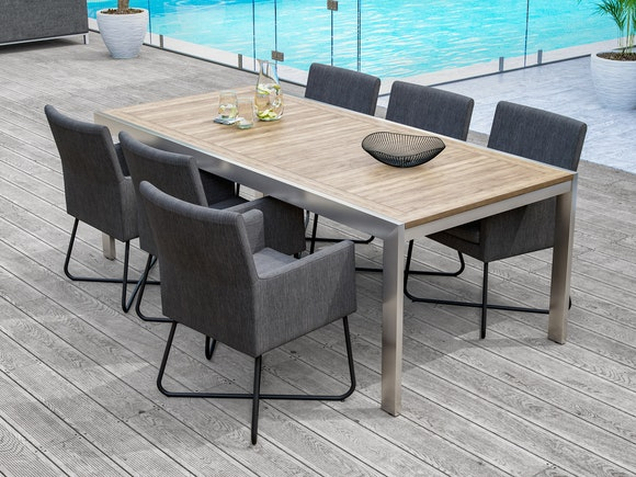 Quarterdeck Outdoor Dining Table with Berg Dining Chairs