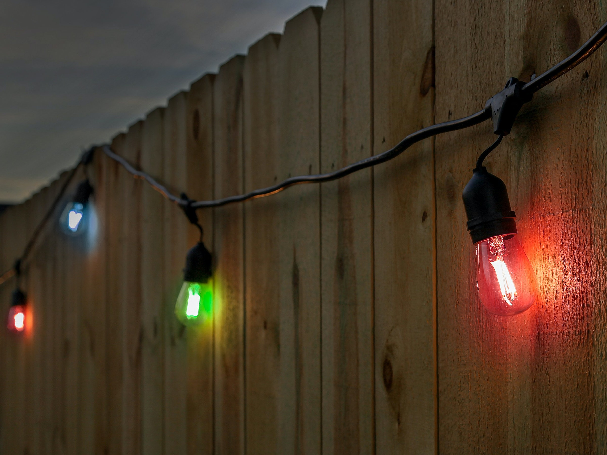 Festoon Lights Led 15m With 24 Multicolour Filament Bulbs