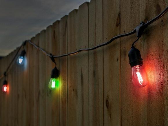 Festoon Lights LED 15m with 24 Multicolour Filament Bulbs
