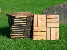 Outdoor Wooden Deck Tiles 12 Slat - Pack of 12