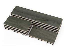 Outdoor Ceramic Woodgrain Deck Tiles Ebony - 0.54m²
