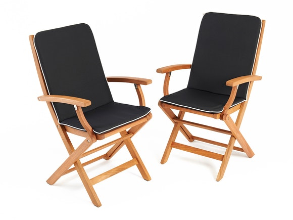 Hardwood Dining Armchairs - Pair