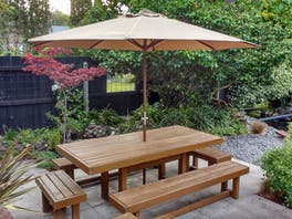 Hardwood Outdoor Umbrella 3m Taupe