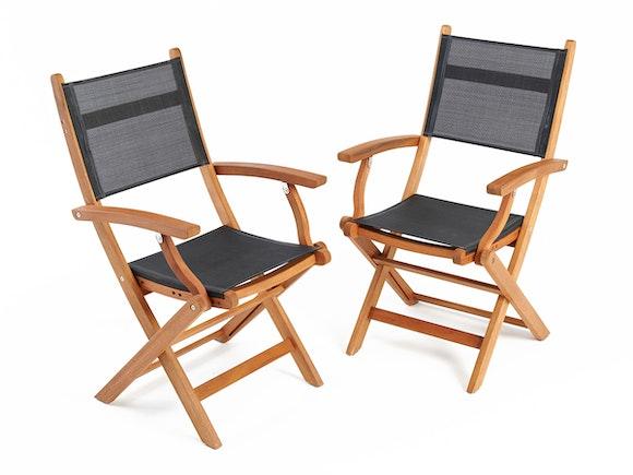 Hardwood Dining Chairs Textiline - Pair