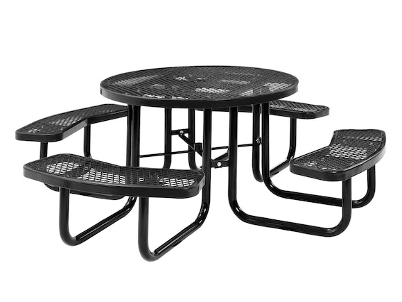Picnic Table Round 8 Seater Commercial - Black