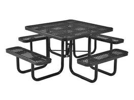 Picnic Table Square 8 Seater Commercial - Black