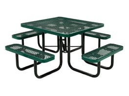 Picnic Table Square 8 Seater Commercial - Green