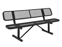 Park Bench 3 Seater Commercial - Black