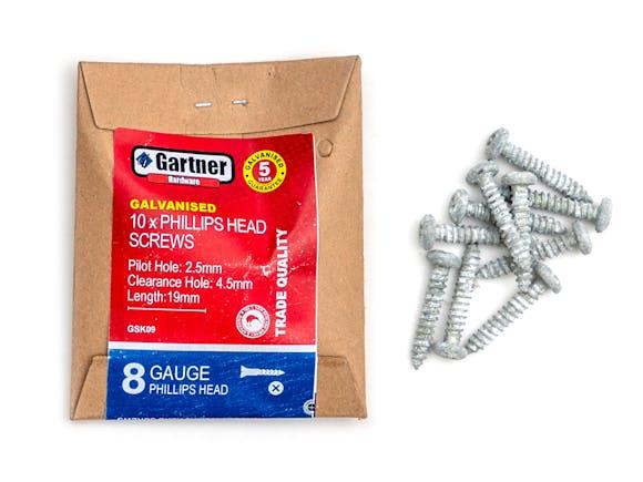 Galvanised Screws - Gauge 8 -19mm (10 Pack)