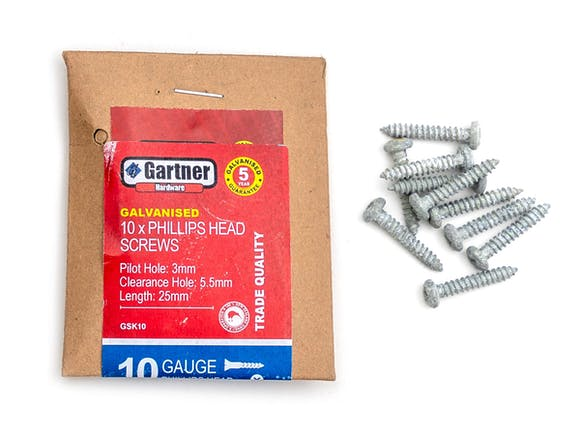 Galvanised Screws - Gauge 10 -25mm (10 Pack)