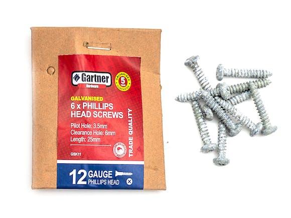 Galvanised Screws - Gauge 12 - 25mm (10 Pack)