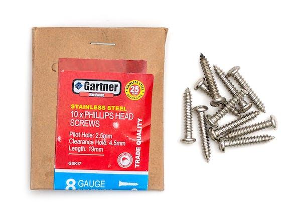 Stainless Steel Screws - Gauge 8 -19mm (10 Pack)
