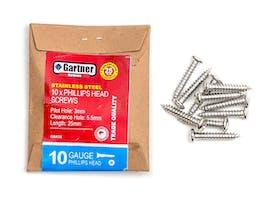 Stainless Steel Screws - Gauge 10 -25mm (10 Pack)
