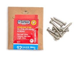 Stainless Steel Screws - Gauge 12 -25mm (10 Pack)