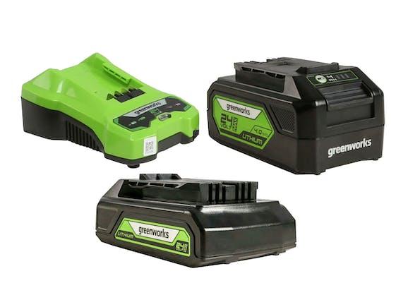 Greenworks 24V Battery & Charger 3 Piece Kit 2.0/4.0Ah