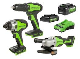 Greenworks 24V Drill Drive Grind 3 Piece 2.0/4.0Ah Kit