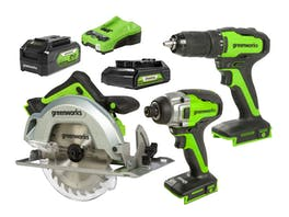 Greenworks 24V Drill Drive Saw 3 Piece 2.0/4.0Ah Kit