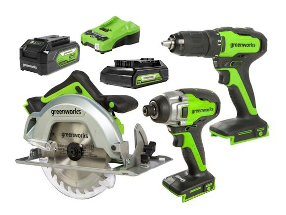 Greenworks 24V Drill Drive Saw 3 Piece 4.0Ah Kit