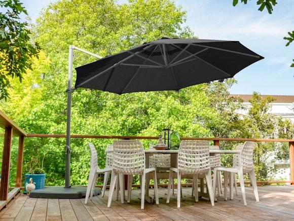Shelta Pandanus Cantilever Umbrella Olefin 3.3m - Charcoal