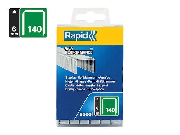 Rapid Flatwire Staples Galvanised 140/6 - Pack of 5000