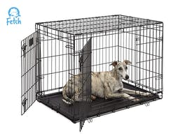 Fetch Dog Crate Cage Double Door Foldable - Large