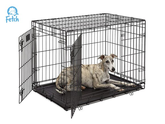 Dog Crate Cage Double Door Foldable - Large