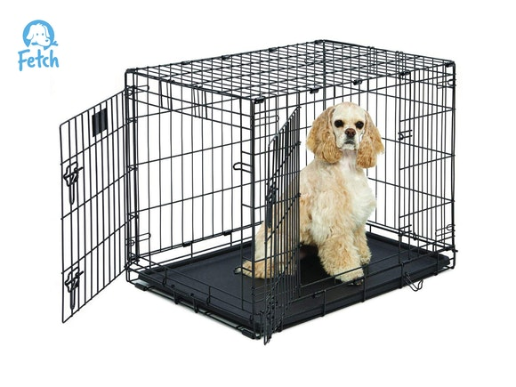 Fetch Dog Crate Cage Double Door Foldable - Medium