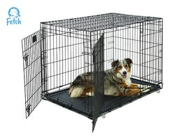 Fetch Dog Crate Cage Double Door Foldable - X-Large