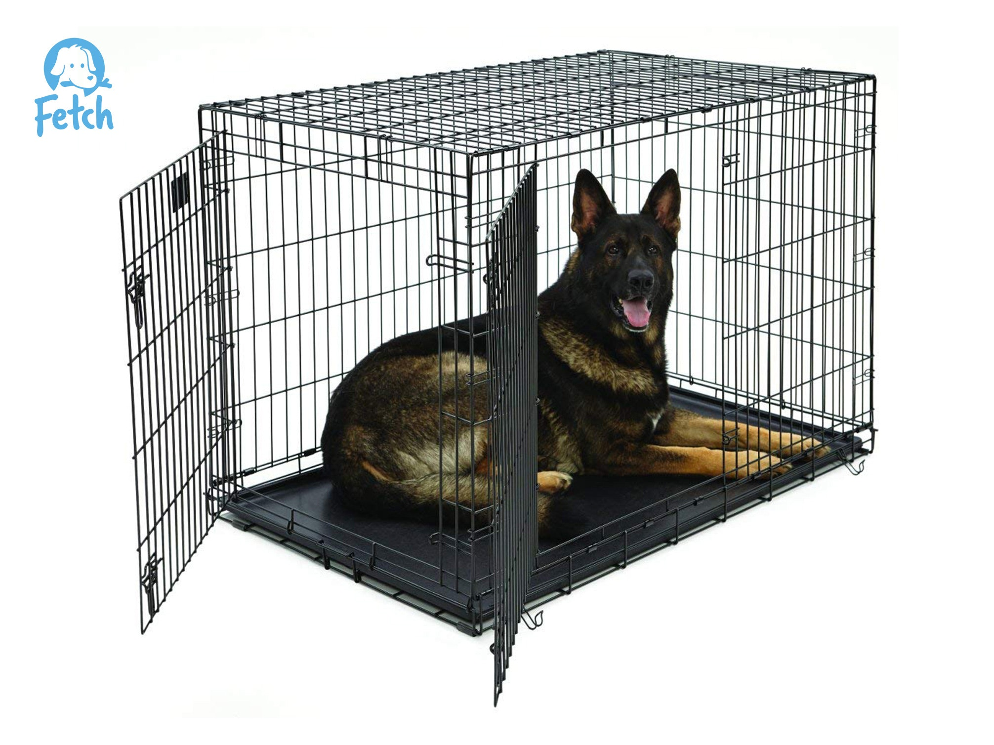 Fetch Dog Crate Cage Double Door Foldable - XX-Large